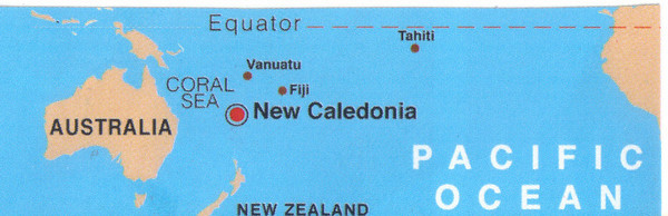 001_South Pacific and New Caledonia Map  1,500 km from Australia