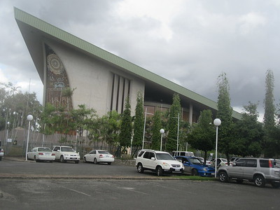 020_Port Moresby  National Parlement House  Built like a Sepik Manhouse  1 of 2