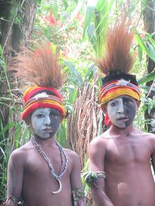 440_Kaip Village  Spirit Dance  Hats are made of feathers (Cassowary bird)