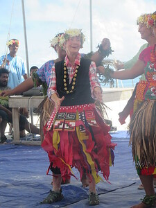 026_Funafuti  Community Hall (Falekaupule)  Traditional dance  Olga, 89 Years-old