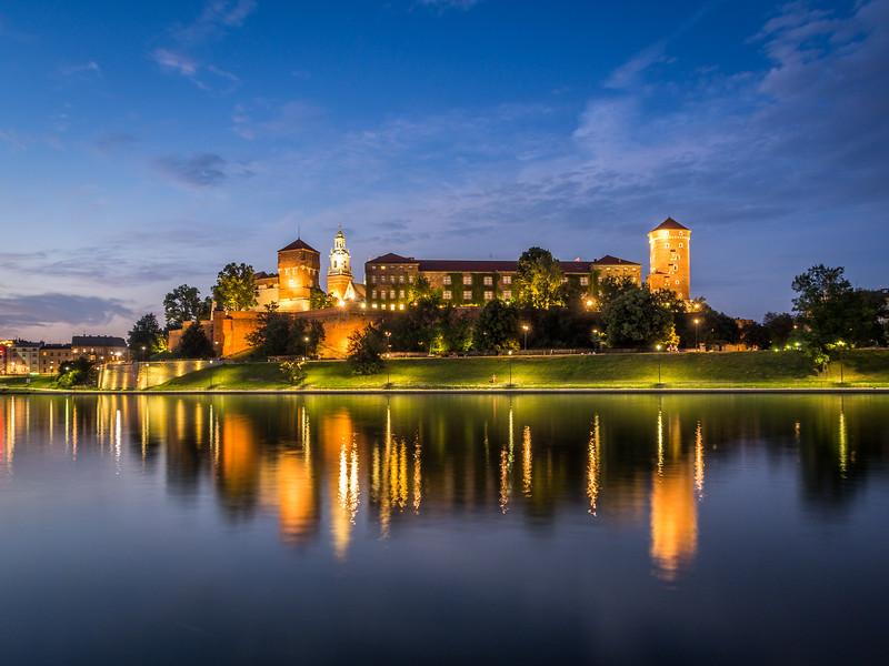 Night Reflections of Wawel Castle on the Vistula, Kraków, Poland