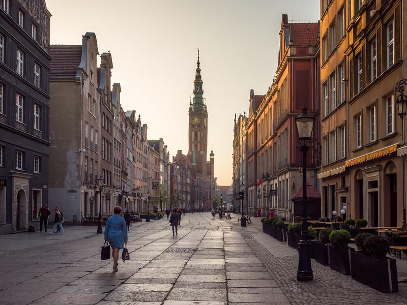 Morning on Długa Street, Gdańsk, Poland