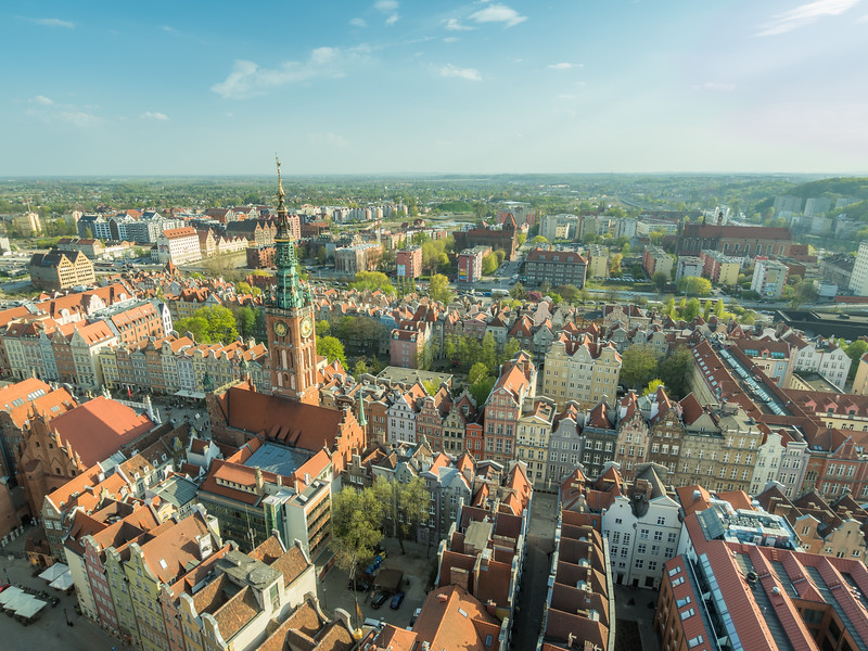 Afternoon View of the Rathus and Main Town, Gdańsk, Poland