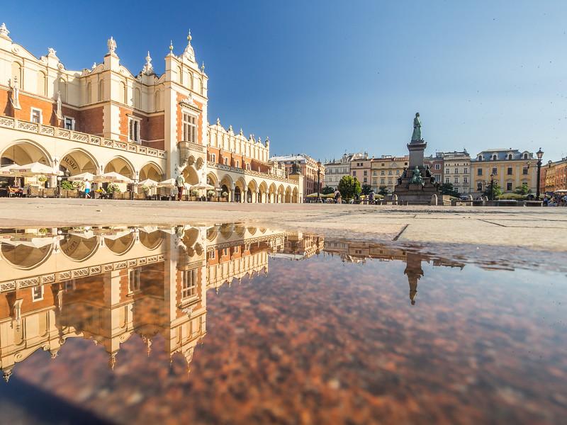 Reflections on Rynek Główny, Kraków, Poland