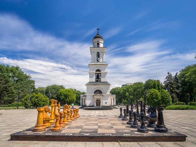 The Belltower of Cathedral Park and the Great Chess Board, Chisinau, Moldova