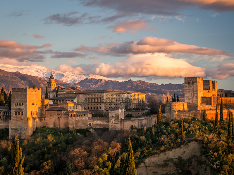 The Alhambra at Sunset, Granada, Spain