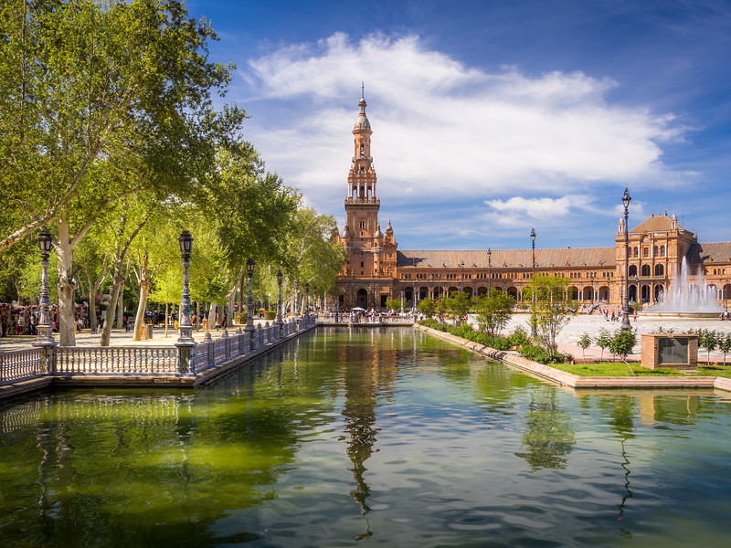 Afternoon at the Plaza de España, Seville, Spain