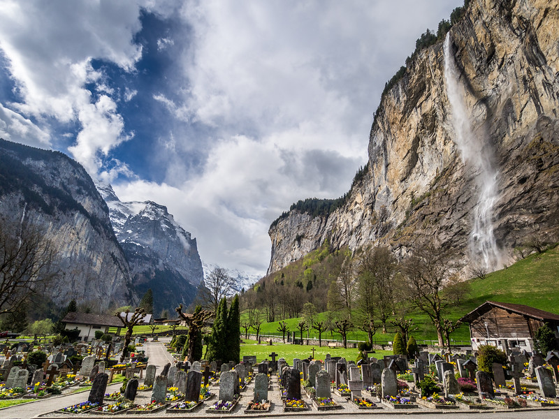 Lauterbrunnen Cemetery and Waterfall, Bernese Alps, Switzerland