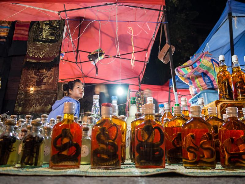 Snake Seller, Night Market, Luang Prabang, Laos