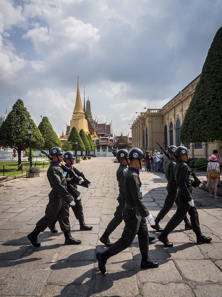 Soldiers Marching past Wat Phrakaew, Bangkok, Thailand