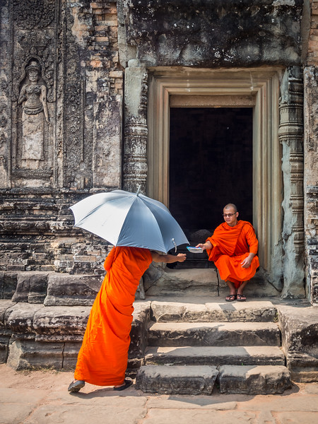 Visitor Monks, Pre Rup, Angkor, Cambodia