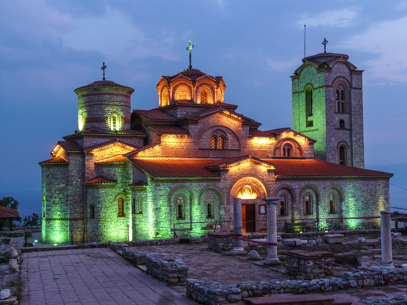 Lighted St. Pantelajmon, Ohrid, Macedonia