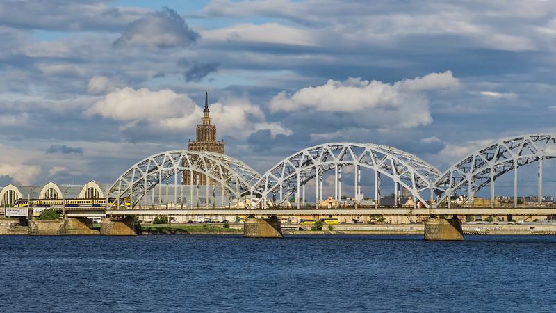 Soviet Tower and Rail Bridge, Riga, Latvia