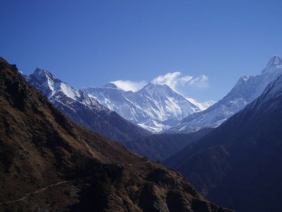 (Photo courtesy of Paul) View looking towards Mt Everest on way to Thyangboche