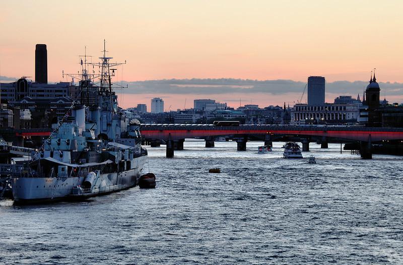 London Bridge and HMS Belfast