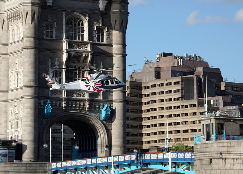 James Bond and the Queen fly through Tower Bridge