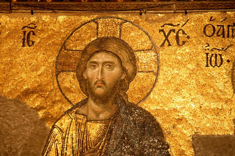 Mosaic of Jesus in Hagia Sophia, Istanbul, Turkey