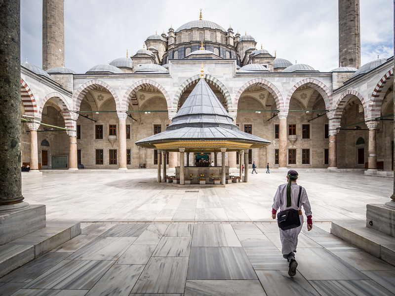 Entering the Courtyard of Fatih Mosque, Istanbul, Turkey