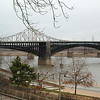 USA - St Louis - view of a bridge over the Mississippi river.