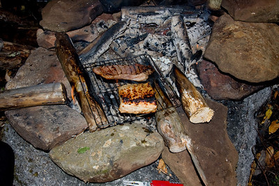 Steak and Pork Loins for dinner, camping has never been so good.
