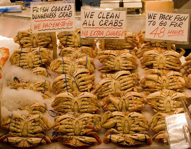 "Crabs<br /> Pike Place Market<br />  <a href=""http://www.pikeplacemarket.org/"">http://www.pikeplacemarket.org/</a>"