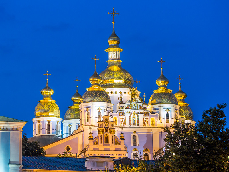 Night Lights on St. Michael's Monastery, Kiev, Ukraine