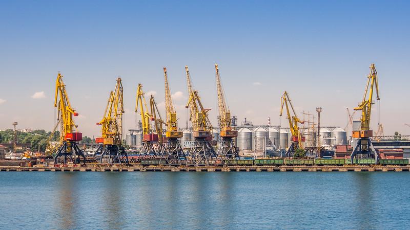 Cranes on the Black Sea, Odessa, Ukraine