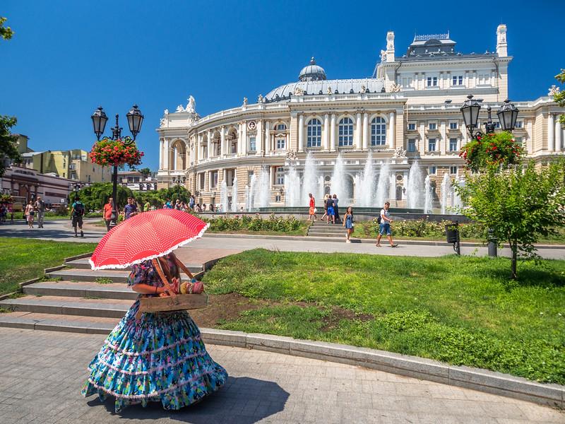 The Flower Girl and the Opera House, Odessa, Ukraine