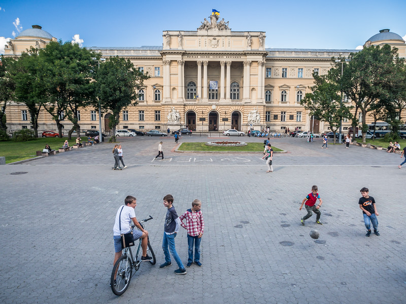 Kids at Play in front of the University, Lviv, Ukraine