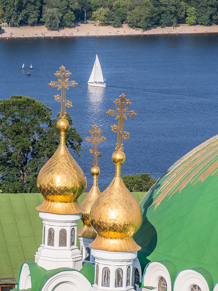 Sailboat and Golden Crosses on the Dnieper, Kiev