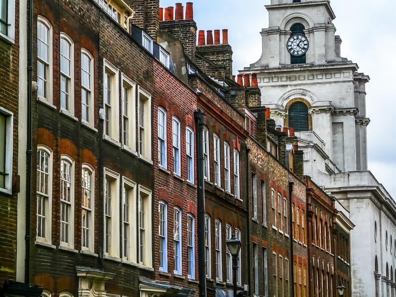 Brick Houses and White Church Near Brick Lane, London