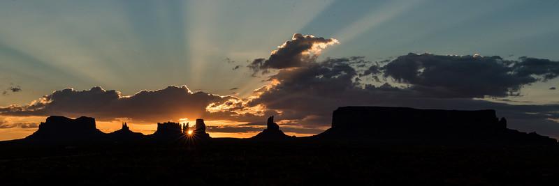 Monument Valley Navajo Tribal Park - Sunset Panoramic