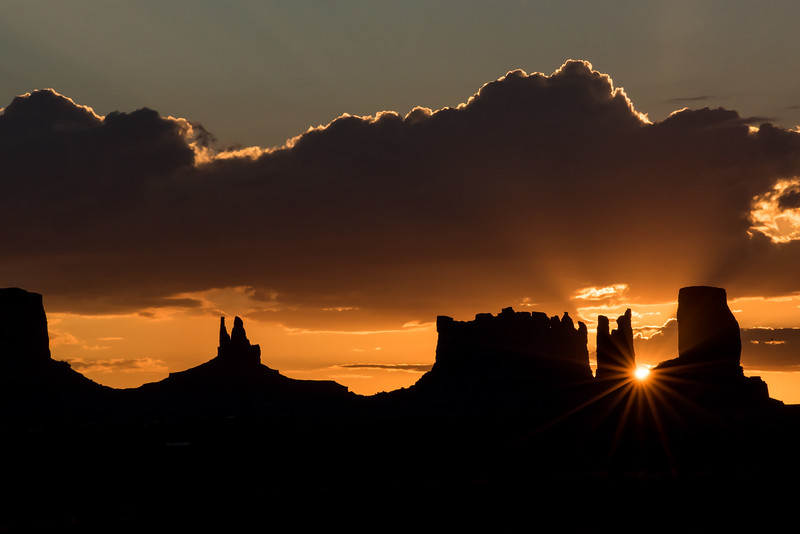 Monument Valley Navajo Tribal Park - Silhouette Sunset