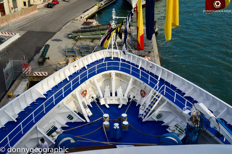 The bow of the Silver Wind at Port in Venice