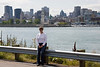 Me (Debbie) on Ile St-Helene, Montreal is across the St. Lawrence, with the old city nearest the harbor and the newer buildings behind.<br /> <br /> September 2008