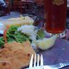 Dinner, Strasser-Bräu, Vienna...not much left of the wienerschnitzel!