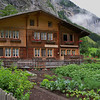 typical Swiss home with vegetable garden in front