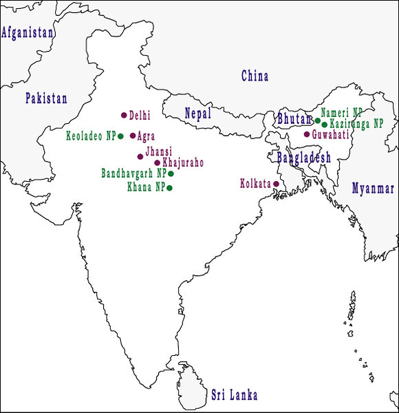 "Cities (purple) and parks (green) that we visited during our travels through India with Cheesemans' Ecology Safaris, <a href=""http://www.cheesemans.com/"">http://www.cheesemans.com/</a><br /> March 7 to 28, 2013"