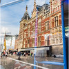 Tram Window Reflection of Amsterdam Centraal Station