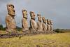 Ahu Akivi, Seven Moai, Easter Island.<br /> March 13, 2012