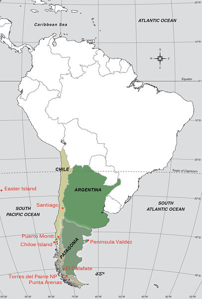 The areas we visited in Chile and Argentina between March 10 to April 8, 2012. We spent most of the time in Patagonia.