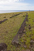 Hut foundation made of carved lava rocks, Ahu Tepeu, Easter Island.<br /> March 13, 2012
