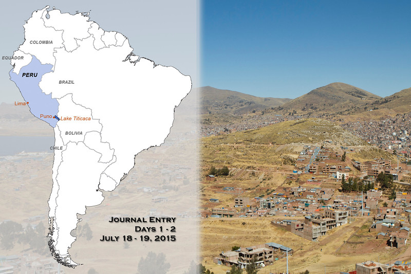 "San Jose, California, to Puno, Peru<br /> Days 1 to 2<br /> Saturday, July 18 to Sunday, July 19, 2015<br /> <br /> Steve and I were very excited to start our 22nd trip with Cheesemans' Ecology Safaris! For our ride to the airport, we decided to use Wingz an Uber-like airport taxi service. It sure beat our usual method of a shared van ride since we didn't have to pick up anyone else on our way. Plus we were happy we were only going to the nearby San Jose airport instead of all the way to San Francisco. We arrived at the airport with plenty of spare time for our 1:30 PM flight to Dallas to catch our overnight flight to Lima, Peru. Our flights went off without a hitch and we arrived in the capital city of Lima, Peru at 5:30 AM. <br /> <br /> A pre-arranged airport greeter met us as we cleared customs in Lima and escorted us to our next flight to Juliaca. The Lima airport is very crowded and busy, so we were glad to have a greeter to show us the ropes even though this seemed like a luxury. The greeter explained a few things then showed us our gate and left us to wait on our own. We had a few hours to kill before our flight so we bought some Starbucks coffee and a bit of breakfast. At the gate we found out that we were bumped up to business class–a very nice touch especially since we were very tired. Our Peruvian guide later told us that they usually do this for tourists since we pay more for airfare. The plane was medium-sized and filled mostly with local people so we sat back and napped during the 1-1/2 hour flight. We landed at the very small airport of Juliaca where our two guides were waiting to meet us. Saturnino will be with us for the next few days and Juan had time to join us for the first day and then will rejoin us when we meet up with the main group. Juan owns the company in Peru that made all the arrangements for this tour for Cheesemans' Ecology Safaris. <br /> <br /> We exited the airport and hopped on a waiting van then drove two hours to the town of Puno a city of 150,000 people that lies on the shores of Lake Titicaca. This lake is popularly known as the highest altitude navigable lake in the world – and it sure was big. The air is very thin here at 12,500 feet and Steve and I could already feel it, especially exasperated by our tiredness. All four of us registered at the Royal Inn Hotel located right on the town square. Juan knew how tired we were after traveling for 24 hours, so he suggested that we rest in our rooms for a few hours then meet back in the lobby at 4:30 PM. Steve and I quickly repacked our suitcases – we divide our clothes and gear, mixing half of each in our two bags just in case one gets lost. Then we plopped in bed and took a much-needed nap.<br /> <br /> At 4:30 PM we met back in the lobby and then flagged down a taxi for the 15-minute ride to the Puno dock on Lake Titicaca – the thin air kept us breathing hard, so we were glad for the ride. We walked on the promenade and Saturnino identified unfamiliar birds in the lake and surroundings, using his scope for us to get good looks. We saw a beautiful Many-colored Rush Tyrant – a small bird that reminds me of our Common Yellowthroat but colored yellow, white, purple, and orange. There were also many Andean Gulls, Andean Coots, Titicaca Grebe (flightless and found nowhere else!), and White-tufted Grebe.<br /> <br /> Many local people were also walking along the promenade since it was Sunday and they curiously watched the ""weird tourists watching birds with a telescope escorted by Peruvians."" They probably thought we were rich! Along the dock there was an alley of small shops under awnings, but they were all closed today since it was Sunday. After about an hour of birdwatching, we took a taxi back to the hotel to drop our gear off then met in the lobby for dinner. We walked a couple blocks down the narrow streets bordered by narrow high-curbed sidewalks to an open mall – more like a street closed to traffic lined with shops and restaurants. Juan, Saturnino, Steve and I ate at an Italian restaurant and ordered two pizzas to share and I got a bowl of quinoa soup. <br /> <br /> Quinoa and potatoes are native to Peru and are both very popular in this part of the country. Some say that there are over three thousand varieties of potatoes here all differing in taste, texture, color and size – many more than we see in the USA. They think potatoes were domesticated about ten thousand years ago in the high Andes. Quinoa has seen a recent worldwide explosion in popularity benefitting farmers at the expense of the local people who rely on it as a staple in their diet. This healthy grain originated here in the Lake Titicaca area of Peru and we could see fallow (it is wintertime here) fields for quinoa all over. <br /> <br /> After dinner we made our way back to the hotel where Juan said good-bye to us – he will meet up with us again in Cusco with the rest of the group. Steve and I went straight to bed after relaxing hot showers."