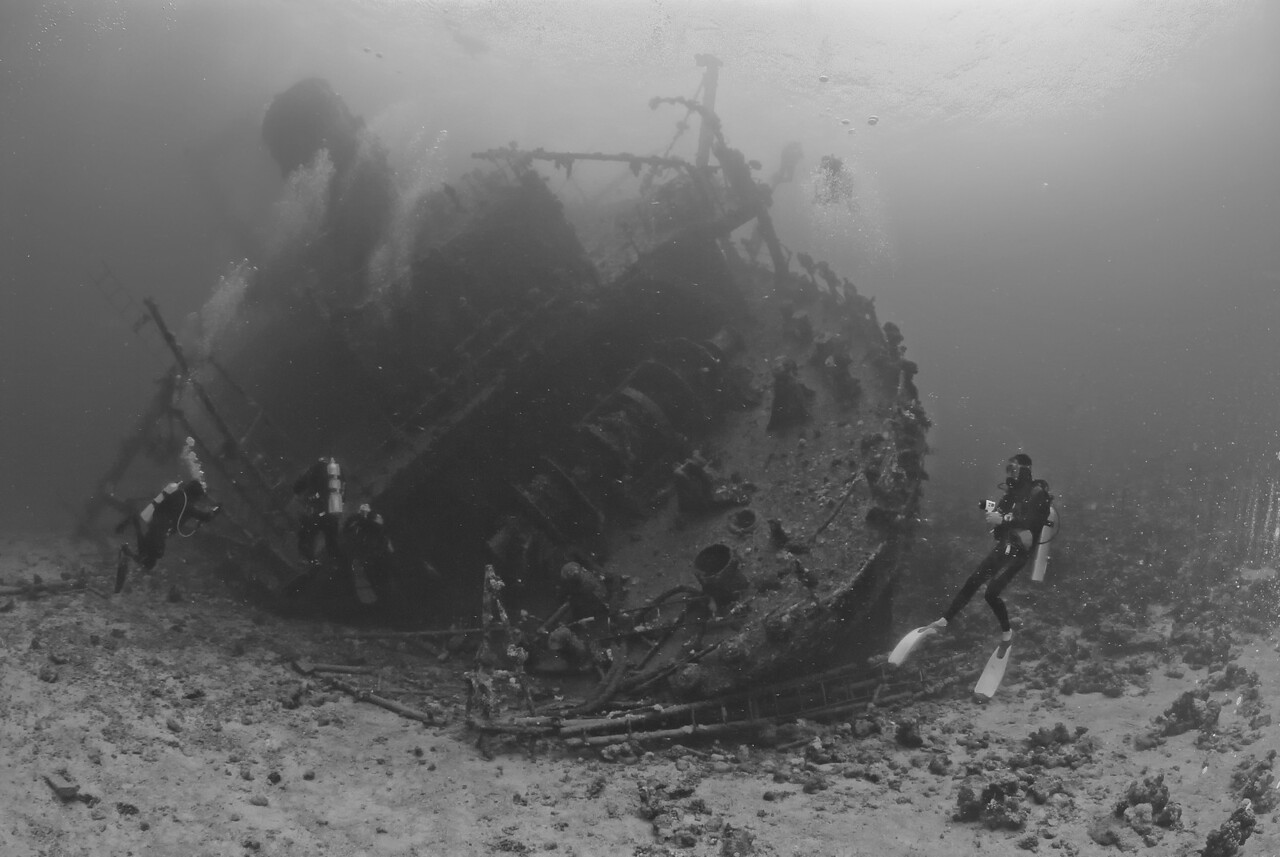 B&W of the stern section of the wreck of the Ghiannis D. Northern Red Sea, Egypt. 2012