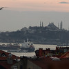 Topkapi Palace and the Blue Mosque aboue the ships on the Bosphorus channel