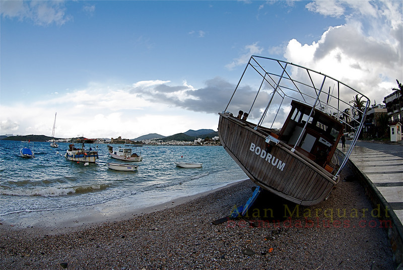 Fishing boats at there morings in a small bay, Bodrum, Turkey.