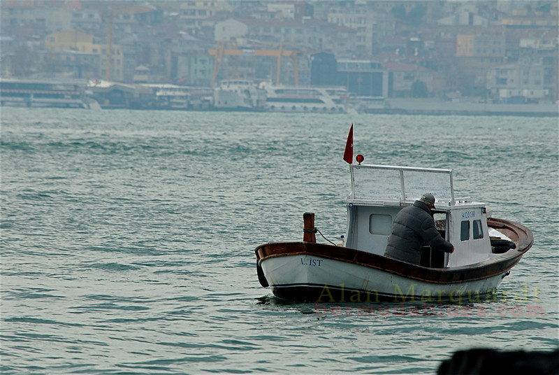 Fishing, in the Bosphorus strait, Istanbul, Turkey.