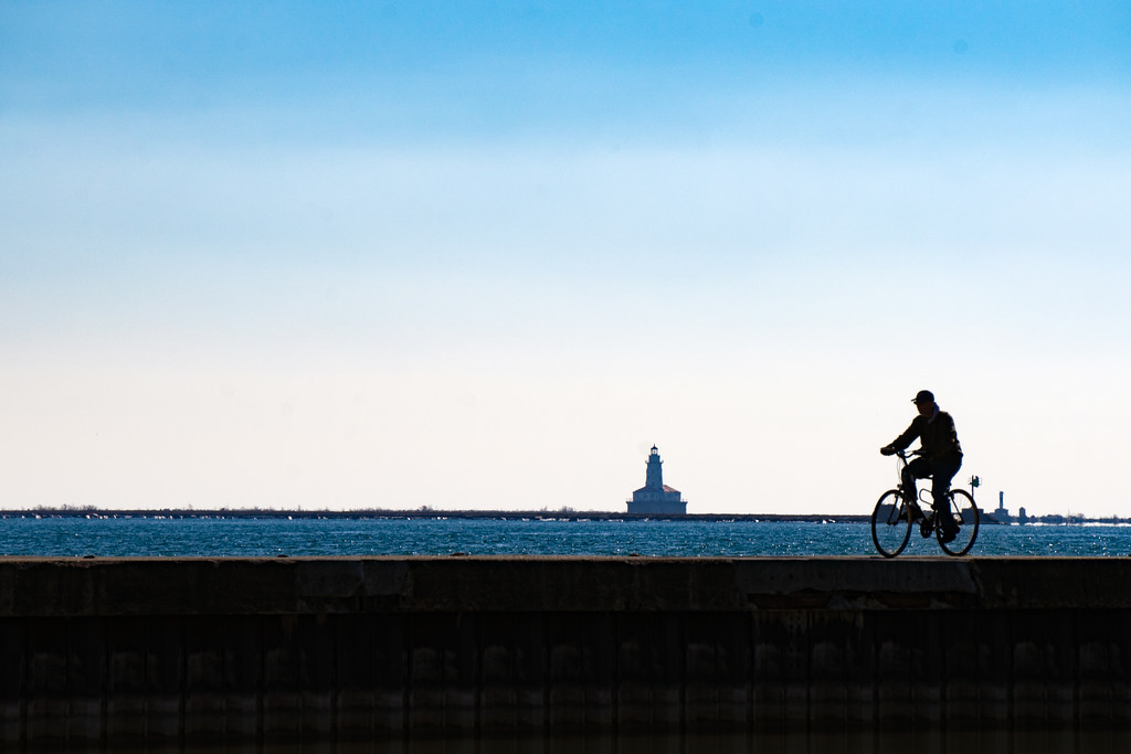 Slice of Life at the Lake Front:  Lone Cyclist