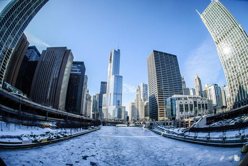 Fish eye view of the Chicago River