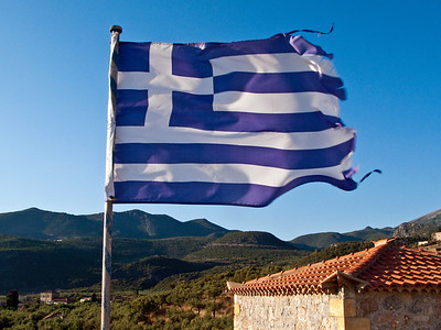 Greek Flag Flying